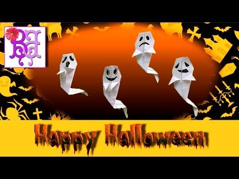Origami Halloween Ghost 👻 DIY of paper. Хэллоуин. Оригами привидение. Поделки из бумаги