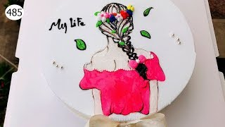 Girl Cake Pink Shirt Painting - Bánh Sinh Nhật Vẽ Cô Gái áo Hồng (485)
