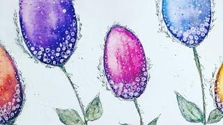 Simple Watercolour Doodle Flowers