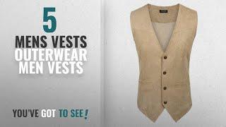 Top 10 Mens Vests Outerwear Men Vests [Winter 2018 ]: Coofandy Mens Slim Leather Vest Suede Vest