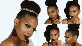 CAN'T BRAID?! $3 UPDO NATURAL HAIR STYLES | 3 QUICK & EASY PROTECTIVE STYLES | HIGH BUN | TASTEPINK