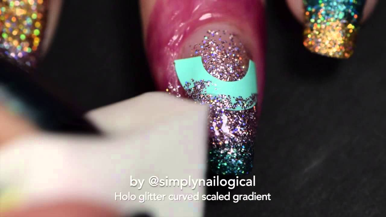 Holo glitter curved scaled gradient nail art thumbnail
