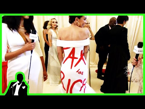 AOC Wears 'Tax The Rich' Dress To $30k Per Plate Met Gala