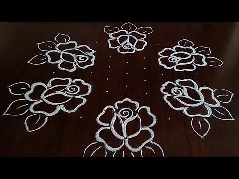 Simple and easy beautiful rose flower rangoli (9×5) dot's.. festival kolam