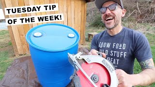 HOW TO CUT the LID OFF (55 Gallon BLUE Barrel)