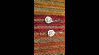 Earrings with high quality cz cubic zirconia stones 14k white gold