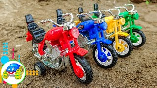 Toy Motorbikes Cleaned by Truck | Kid Studio