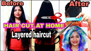 Long Layered Feather Haircut AT HOME IN LOCKDOWN | SuperPrincessjo