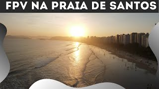 Voando com o drone DJI FPV na praia de Santos - 4K