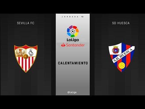 Calentamiento Sevilla FC vs SD Huesca