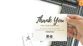 How to Make Thank You Business Cards at Home for FREE Fast & Easily   Etsy Seller Tips