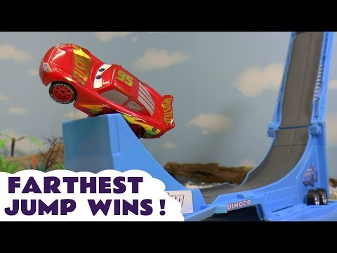 Hot Wheels Superheroes Farthest Wins Competition With Disney Pixar Cars McQueen And Gray