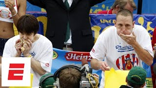 Joey Chestnut beats Takeru Kobayashi to win 2007 Nathan's Hot Dog Eating Contest   ESPN Archive
