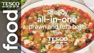 Speedy prawn and feta bake