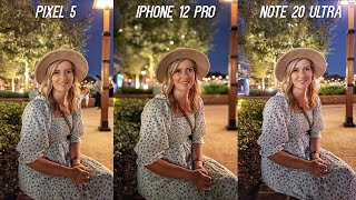 iPhone 12 Pro vs Galaxy Note 20 Ultra vs Pixel 5 Low Light Camera Test Comparison!