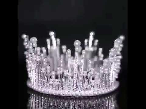 Luxus Tiara Braut Kopf Krone Glitzer Diadem Hochzeit Silber Mit Perlen