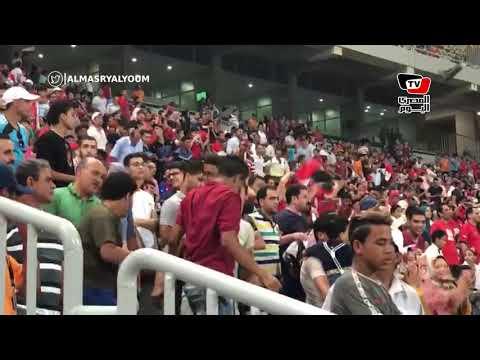 فرحة هستيرية عقب إحراز أحمد على الهدف الثاني في مباراة مصر وغينيا