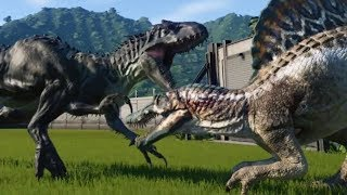 Jurassic World Evolution - INDOMINUS REX (MAX DEFENSE) vs SPINOSAURUS (MAX ATTACK) - Gameplay HD