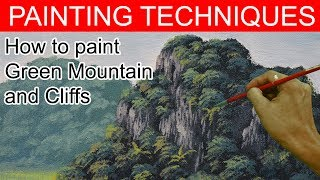 How To Paint Green Mountain With Cliffs In Basic Acrylic Painting Tutorial By JM Lisondra