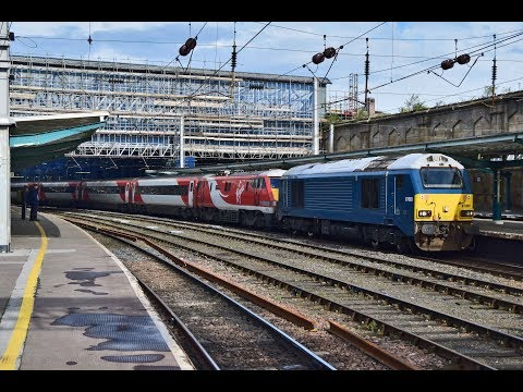 DB Cargo 67003 drags Virgin East Coast 91119 & Mk4 set out o…