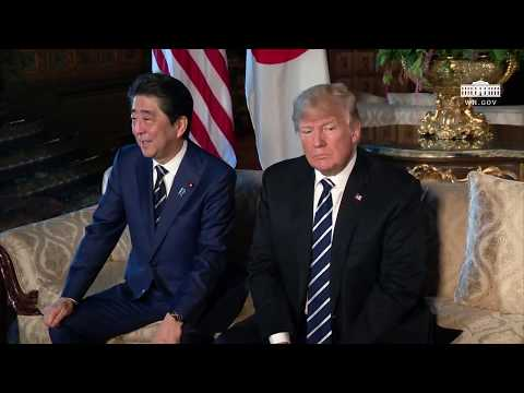 President Trump has a 1:1 bilateral meeting with the Prime Minister of Japan