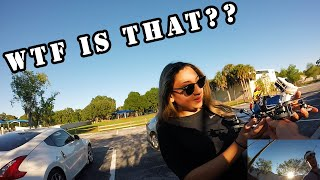 First time flying racing drone. Girl is astonished!