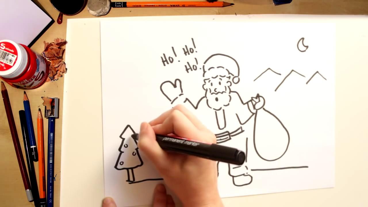 Como dibujar a Papa Noel - dibujos de Navidad para niños