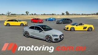 Audi RS3, TT RS, RS5 Coupe , RS6 Avant, RS7 Sportback & R8 Spyder Track Test | motoring.com.au
