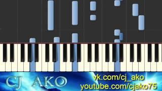 CJ AKO   Tears of love Synthesia красивая простая грустная мелодия игра на пианино piano tutorial