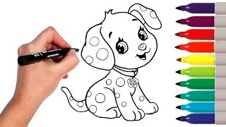 How to Draw Cute Puppy Dog | Drawing and Coloring Cinnapup Creative for Kids