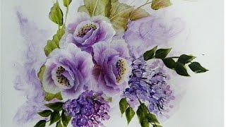 Painting roses , rosas & glicinias ,one stroke painting .
