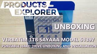 Verbatim Model 51397 1TB SAYAAA Portable Hard Drive (Unboxing and installation tutorial)