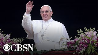 Pope Francis delivers Easter Mass.   -- Subscribe to the CBS News Channel HERE: http://youtube.com/cbsnews Watch CBSN live HERE: http://cbsn.ws/1PlLpZ7c Follow CBS News on Instagram HERE: https://www.instagram.com/cbsnews/ Like CBS News on Facebook HERE: http://facebook.com/cbsnews Follow CBS News on Twitter HERE: http://twitter.com/cbsnews  Get the latest news and best in original reporting from CBS News delivered to your inbox. Subscribe to newsletters HERE: http://cbsn.ws/1RqHw7T  Get your news on the go! Download CBS News mobile apps HERE: http://cbsn.ws/1Xb1WC8  Get new episodes of shows you love across devices the next day, stream CBSN and local news live, and watch full seasons of CBS fan favorites like Star Trek Discovery anytime, anywhere with CBS All Access. Try it free! http://bit.ly/1OQA29B  --- CBSN is the first digital streaming news network that will allow Internet-connected consumers to watch live, anchored news coverage on their connected TV and other devices. At launch, the network is available 24/7 and makes all of the resources of CBS News available directly on digital platforms with live, anchored coverage 15 hours each weekday. CBSN. Always On.