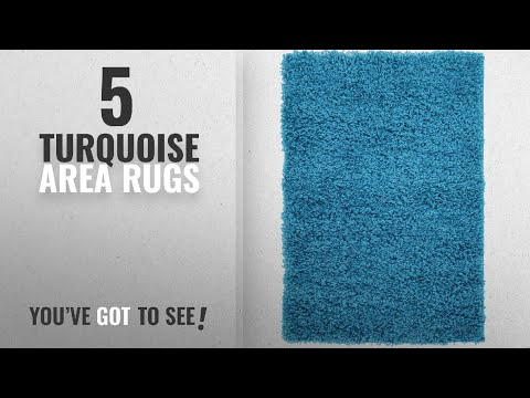 Top 10 Turquoise Area Rugs [2018 ]: Unique Loom Solid Shag Collection Turquoise 2 x 3 Area Rug (2'