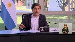 Anuncio del presidente Alberto Fernández, el gobernador de la Provincia de Buenos Aires, Axel Kicillof, y el jefe de Gobierno de la Ciudad de Buenos Aires, Horacio Rodríguez Larreta