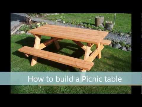 Picknicktafel maken van steigerhout, eenvoudige tafel met A-Frame en banken.