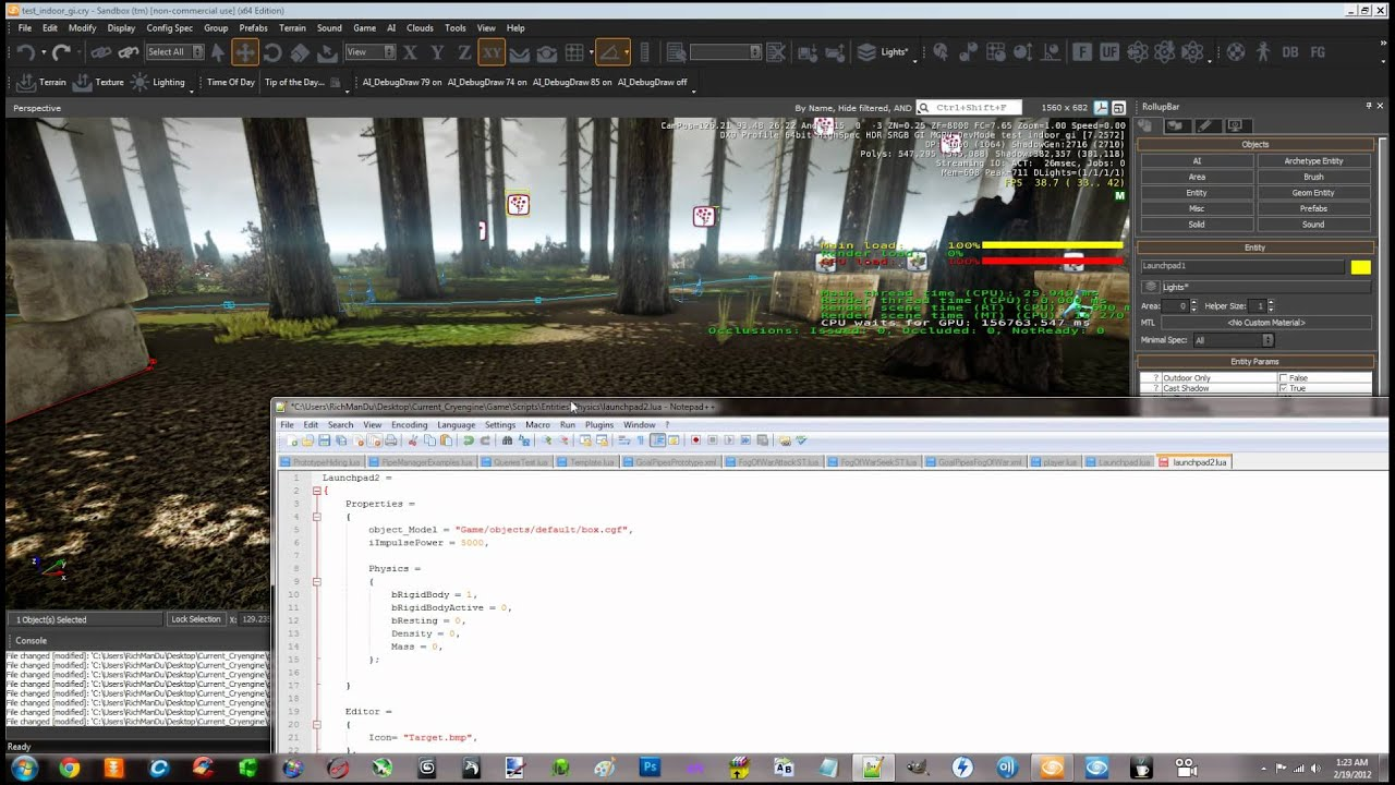 """Creating A Custom """"Launchpad"""" Entity and script in Lua and Showing My Custom AI in Cryengine part 1"""