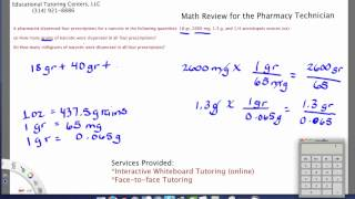Pharmacy Technician Math Review