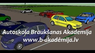 """Парковка на автостоянкe задним ходом. Autoskola """"Braukšanas Akadēmija"""" www.b-akademija.lv"""