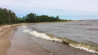 Slow motion waves on the shore of Lake of the Woods at Zippel Bay State Park.