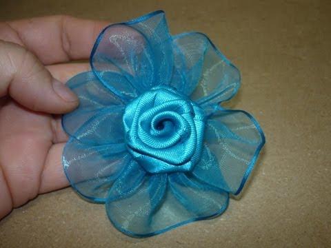 Tutorial paso a paso Flor Elegante  cinta organza para el cabello, Manualidadeslahormiga