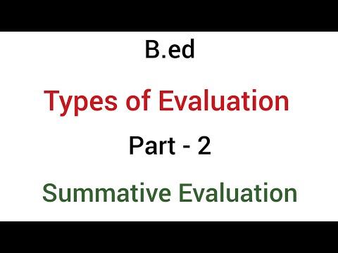 Part - 2 Summative evaluation | types of evaluation | b.ed