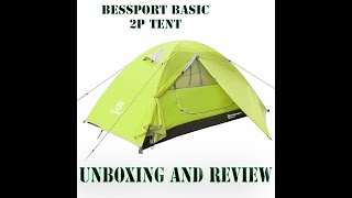 Bessport 2p Basic 3 season tent unboxing and review