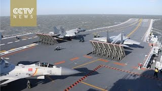 Chinese Navy conducts live ammunition drill  for aircraft carrier formation in the Bohai Sea