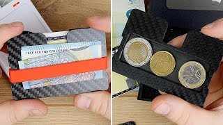 Slim Wallet aus Carbon mit EINGEBAUTEM MÜNZFACH & RFID Schutz! // Makakaontherun // DEUTSCH