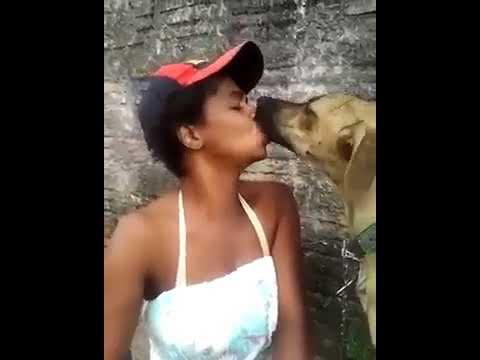 A woman & dog in love
