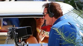 Quentin Tarantino Directs Brad Pitt And Margret Qualley On Set