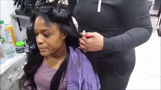 NATURAL HAIR LEAVE OUT | MILKY WAY WEAVE STRAIGHT INSTALL