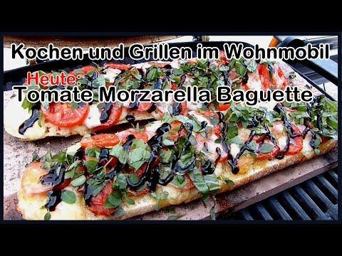 Tomate Morzzarella Baguette auf dem Weber Grill Q1200. Kochen und Grillen im Wohnmobil