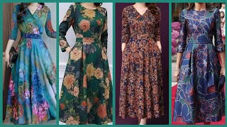 Most Trendy Knee Length Floral Prints Chiffon Frocks Middi Dresses Ideas For Girls Ans Women